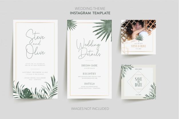 Instagram-vorlage für hochzeitseinladungskarte mit tropischer blume und blättern Premium Vektoren