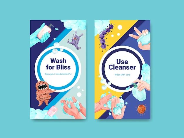 Instagram-vorlage mit globalem handwaschtag-konzeptdesign Kostenlosen Vektoren