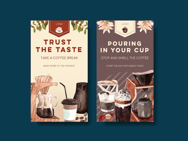 Instagram-vorlage mit internationalem kaffeetag-konzept Kostenlosen Vektoren