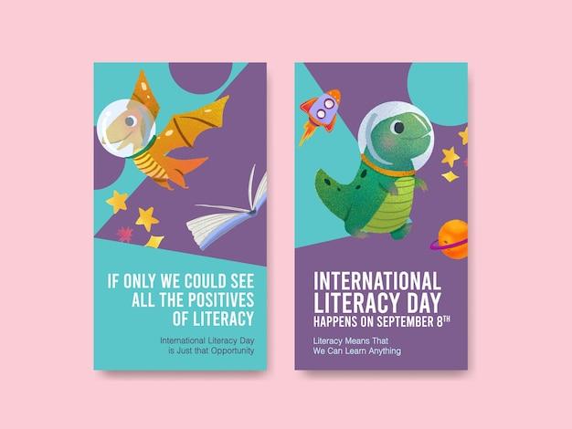 Instagram-vorlage mit konzeptentwurf zum internationalen tag der alphabetisierung für online-marketing Kostenlosen Vektoren