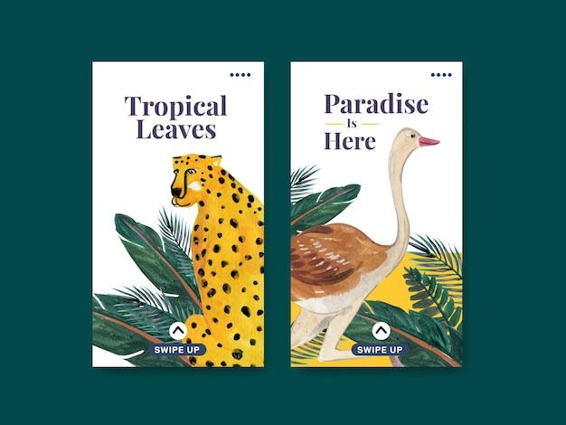 Instagram-vorlage mit tropischem zeitgenössischem konzeptdesign für soziale medien und online-community-aquarellillustration Kostenlosen Vektoren