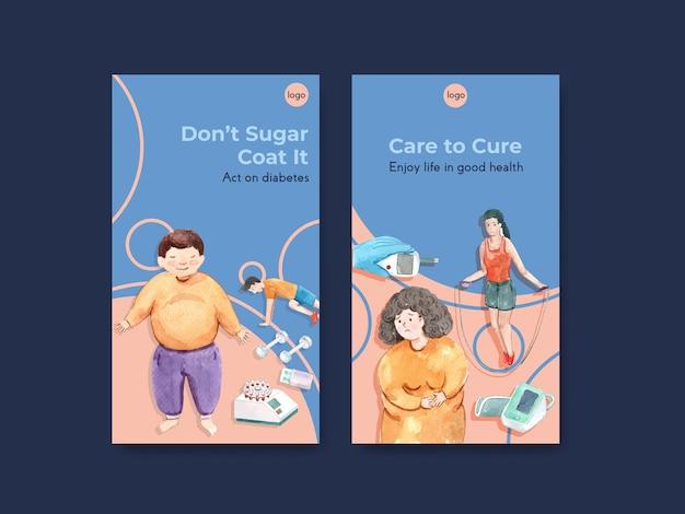 Instagram-vorlage mit weltdiabetestag für social media und online-marketing-aquarell Kostenlosen Vektoren