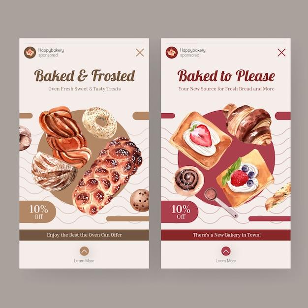 Instagram-vorlagen für den verkauf von bäckereien Kostenlosen Vektoren