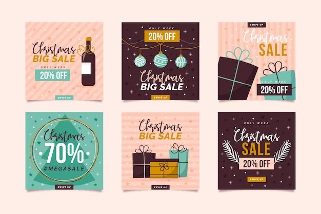 Instagram weihnachtsverkaufspostensammlung Kostenlosen Vektoren