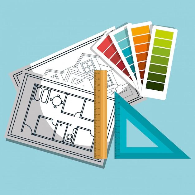 Instrumente architekturdesign Premium Vektoren