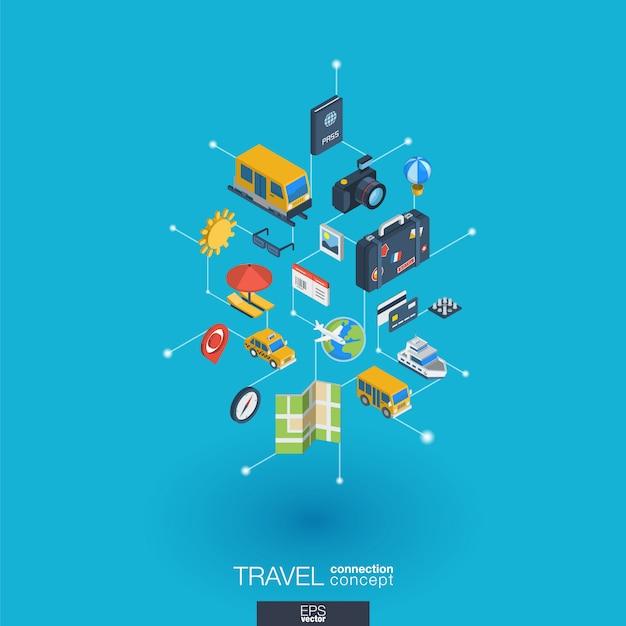Integrierte web-symbole für reisen. isometrisches interaktionskonzept für digitale netzwerke. verbundenes grafisches punkt- und liniensystem. hintergrund mit tourenkarte, hotelbuchung, flugticket. infograph Premium Vektoren