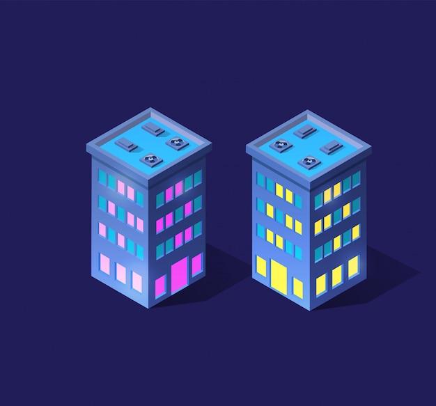 Intelligente 3d-illustrationsstadt auf einem lila ultravioletten Premium Vektoren
