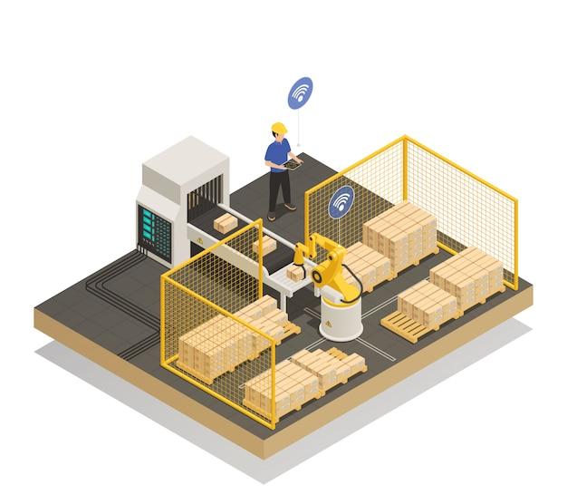 Intelligente automatisierte herstellung isometrische zusammensetzung Kostenlosen Vektoren