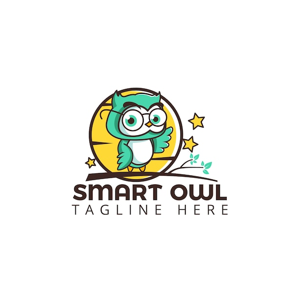 Intelligente Eule Logo Vorlage Niedliche Figur Auf dem Baum mit Mond ...