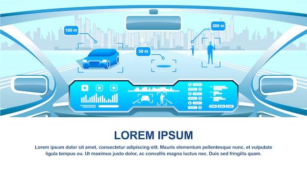 Intelligente fahrzeug-cockpitansicht Premium Vektoren
