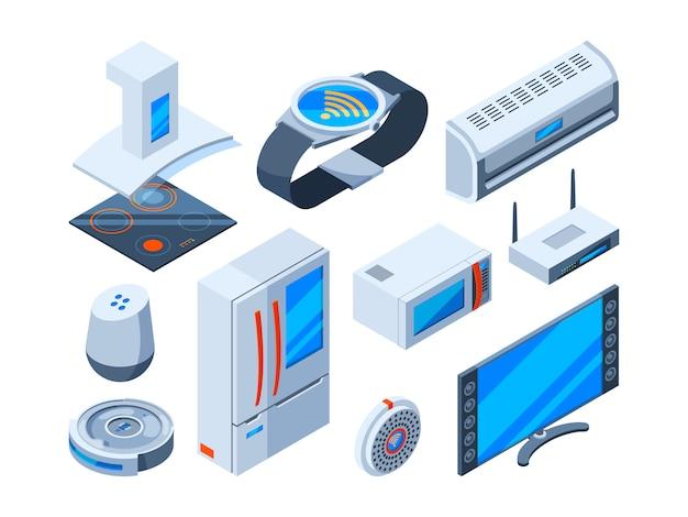 Intelligente haushaltsgegenstände. home tools mit internet-technologien elektronische sicherheitsgeräte steuern monitor isometrische bilder Premium Vektoren