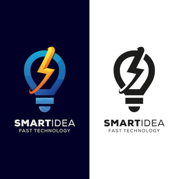 Intelligente idee und schnelles technologie-logo, schnelle idee, donnerbirnen-logo-design mit schwarzer version Premium Vektoren