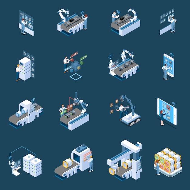 Intelligente industrie mit den isometrischen ikonen des robotisierten herstellungsfernsteuerungs- und -produktions-rechenzentrums lokalisiert Kostenlosen Vektoren