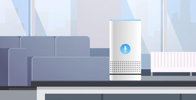 Intelligente intelligente lautsprecher spracherkennung aktiviert digitale assistenten automatisierte befehlsbericht konzept moderne wohnzimmer innen flache horizontale vektor-illustration Premium Vektoren
