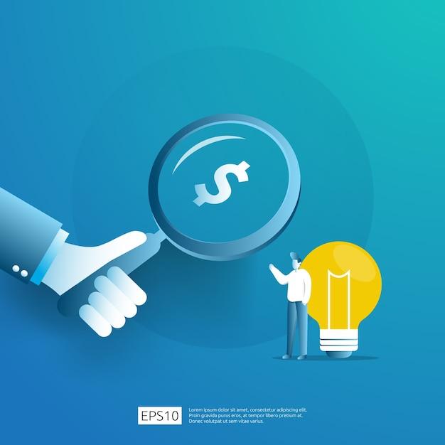 Intelligente investition in den technologie-start. angel investor business analytic. gelegenheitsideen-forschungskonzept mit lampenglühbirne und geschäftsmanncharakterelement. Premium Vektoren