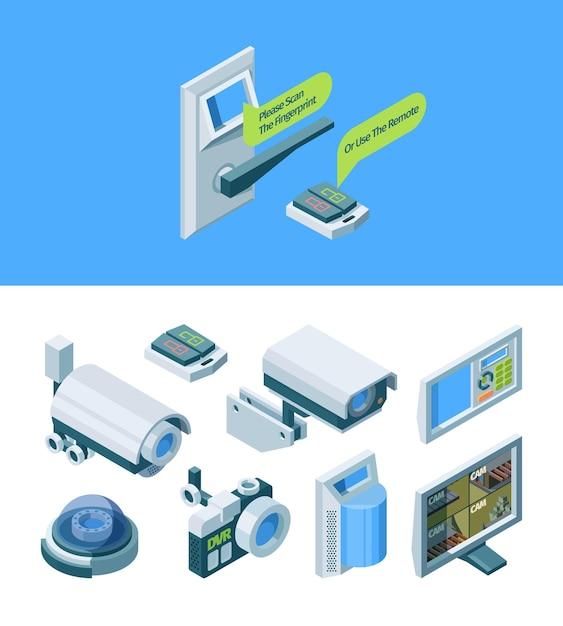 Intelligente isometrische illustration der kamerasicherheit Premium Vektoren