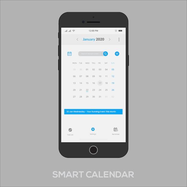Intelligente kalender-app unter windows Premium Vektoren