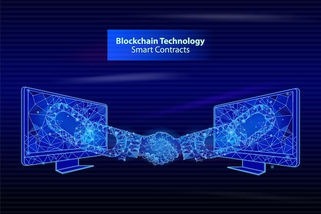 Intelligente kontakte mit blockchain-technologie Premium Vektoren