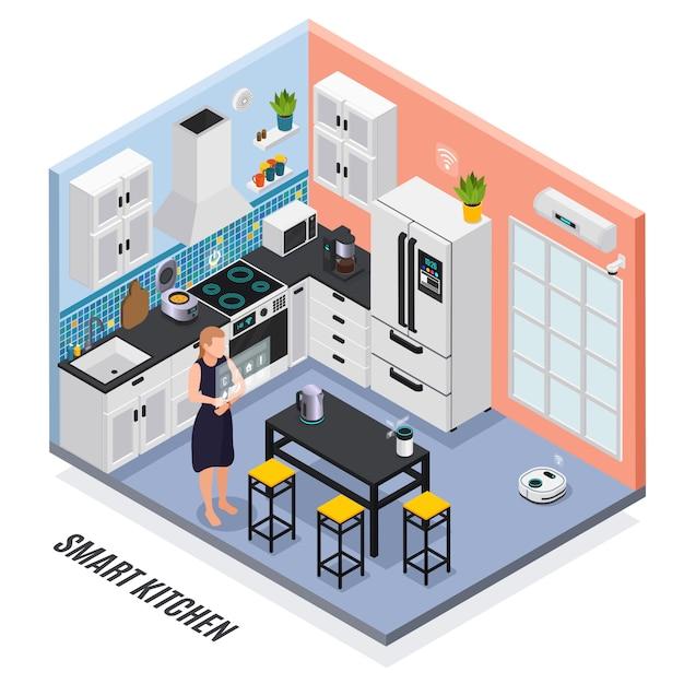 Intelligente kücheninnen-iot-geräte gesteuert mit isometrischer zusammensetzung des touch screen mit kühlschrankillustration des multi kochers Kostenlosen Vektoren