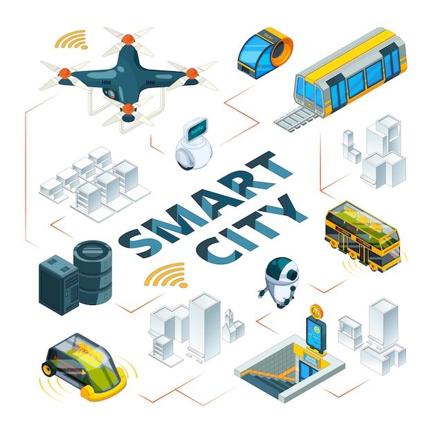 Intelligente stadt 3d. urban zukunftstechnologien intelligente gebäude und sicherheitsfahrzeuge drohnen autos lieferung transport isometrische bilder Premium Vektoren