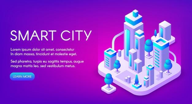 Intelligente stadtillustration der stadt mit digitaler kommunikationstechnologie. Kostenlosen Vektoren