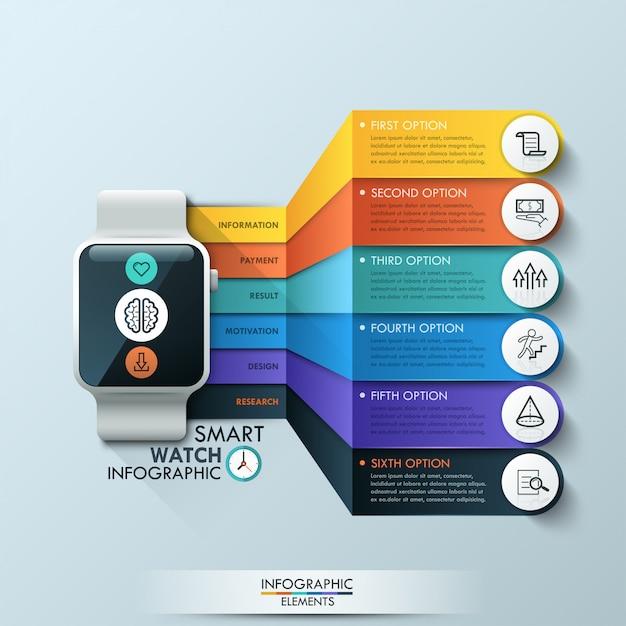 Intelligente uhr infographik designvorlage Premium Vektoren