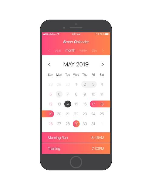Intelligenter konzept-vektor des kalender-app ui Premium Vektoren