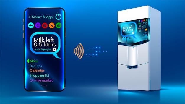 Intelligenter kühlschrank Premium Vektoren