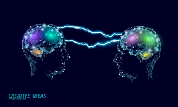 Intelligentes geschäftskonzept des iq des menschlichen gehirns. e-learning nootropic drug supplement braingpower. brainstorming kreative idee projektarbeit polygonale illustration. Premium Vektoren