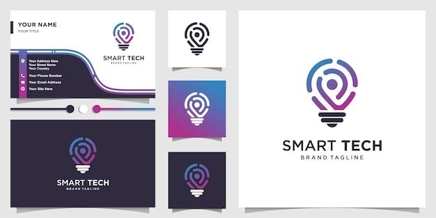 Intelligentes tech-logo mit frischem farbverlaufslinienstil und visitenkartenentwurf Premium Vektoren
