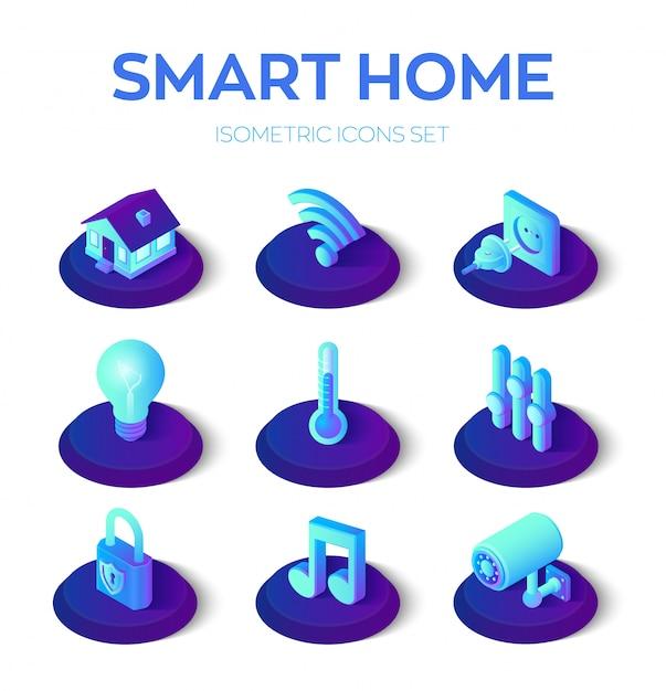 Intelligentes zuhause. 3d isometrische symbole festgelegt. remote-haussteuersystem. iot Premium Vektoren