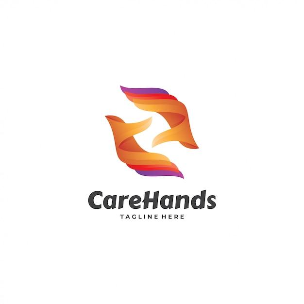 Interessantes logo der abstrakten handpflege Premium Vektoren