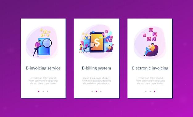Interface-vorlage für die e-invoicing-app Premium Vektoren