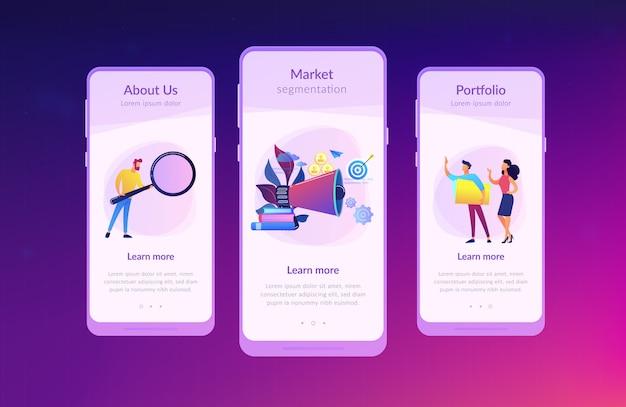 Interface-vorlage für die zielgruppen-app Premium Vektoren