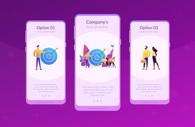 Interface-vorlage für interne marketing-apps Premium Vektoren