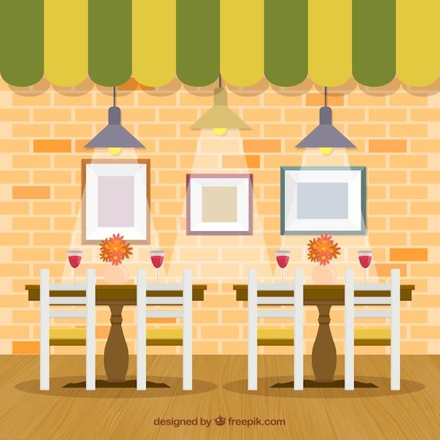 Interior restaurant im flachen stil Kostenlosen Vektoren