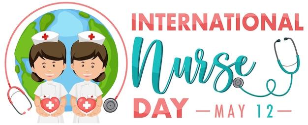 International nurse day logo mit niedlichen krankenschwester auf globus Premium Vektoren