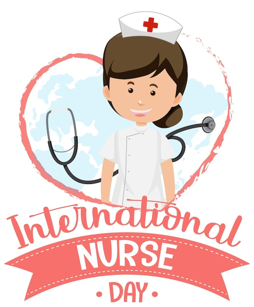 International nurse day logo mit niedlichen krankenschwester und stethoskop Premium Vektoren