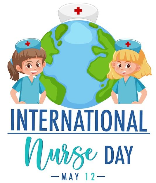 International nurse day logo mit niedlichen krankenschwestern auf globus hintergrund Premium Vektoren