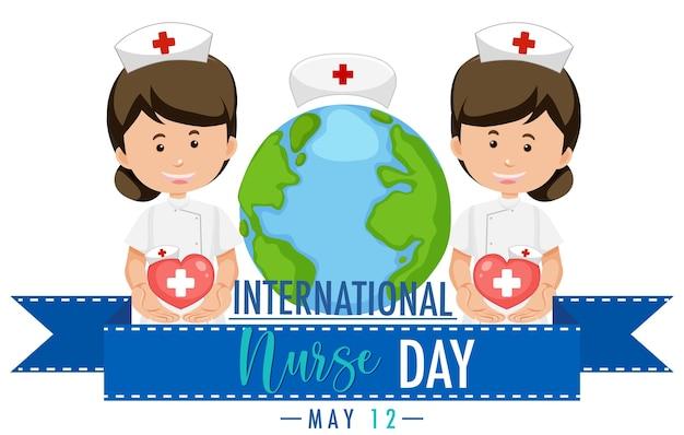 International nurse day logo mit niedlichen krankenschwestern Premium Vektoren