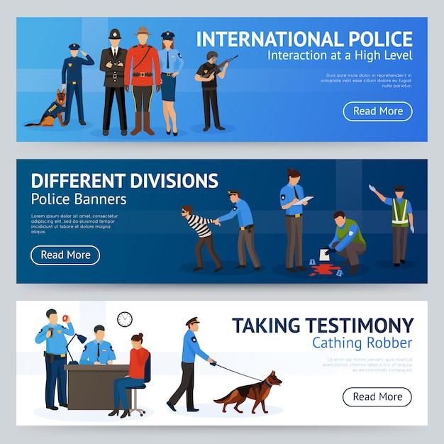 International police service flat banner set Kostenlosen Vektoren