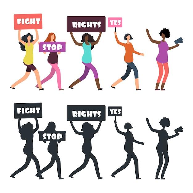 Internationale demonstrantinnen gehen auf manifestation. feminismus, frauenrechte und protestvektorkonzept. weibliche demonstrantenschattenbildillustration Premium Vektoren