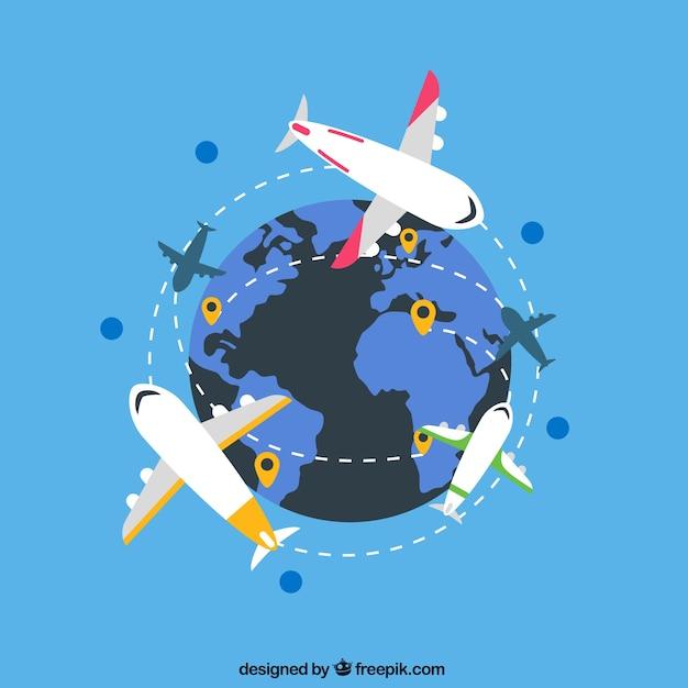 Internationale flugrouten Kostenlosen Vektoren