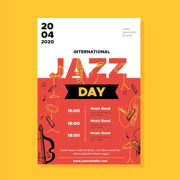 Internationale jazz day flyer vorlage im flachen design Kostenlosen Vektoren