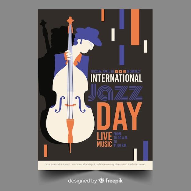 Internationale jazz-tag-poster-vorlage Kostenlosen Vektoren