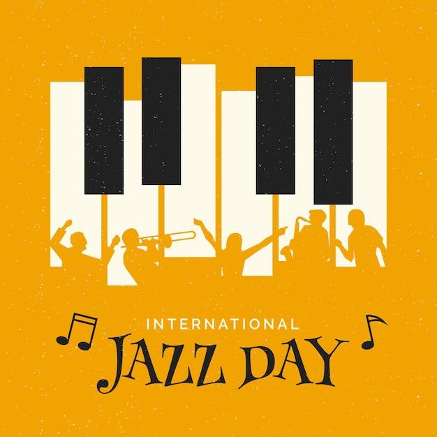 Internationale jazz-tagesillustration mit klaviergeschichten Premium Vektoren