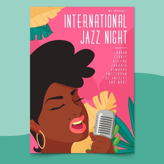 Internationale jazz-tagesplakatschablone im flachen design Kostenlosen Vektoren