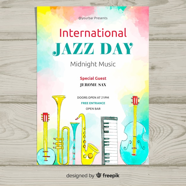 Internationale jazztag-plakatschablone des aquarells Kostenlosen Vektoren