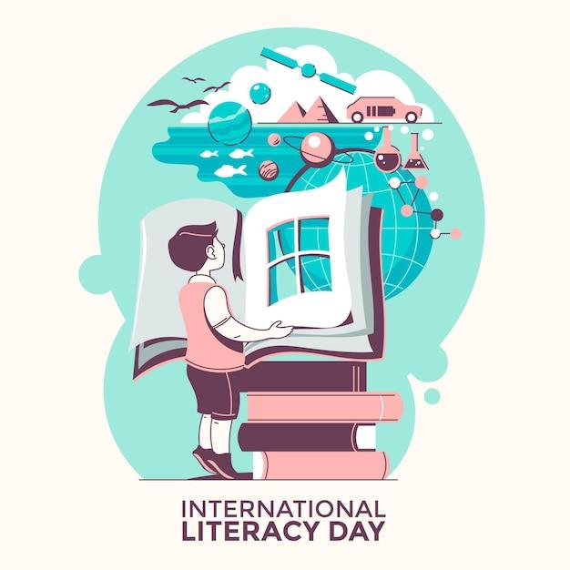 Internationaler alphabetisierungstag mit jungen und büchern Premium Vektoren