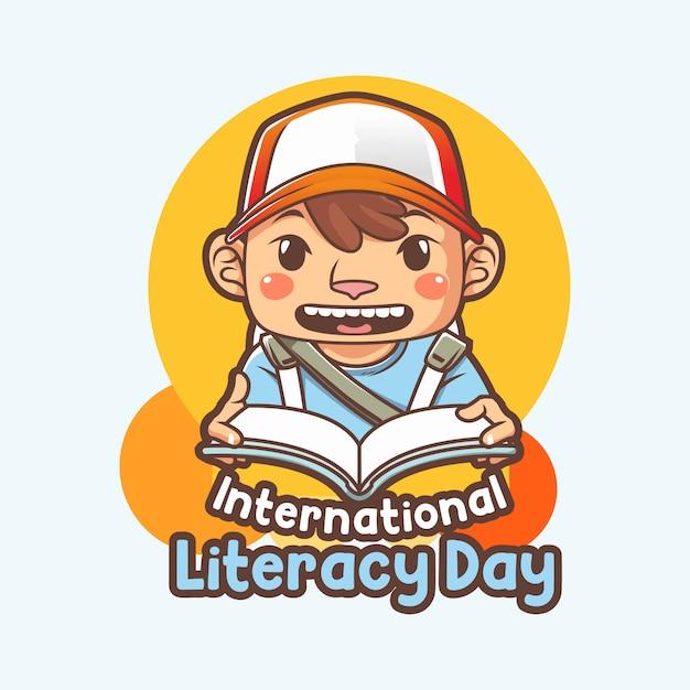 Internationaler alphabetisierungstag oder plakat mit illustration des lesebuchs des kleinen jungen Premium Vektoren